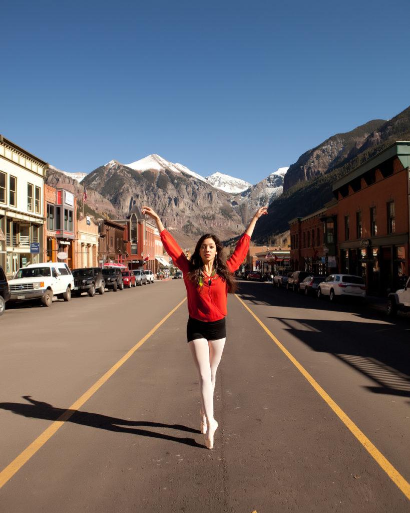 telluride senior dancer on Main Street in Telluride