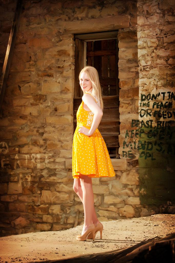 ridgway high school senior girl in a dress and heels