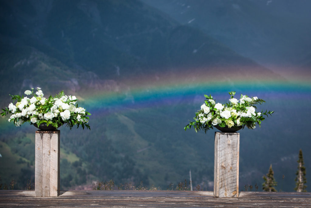San Sophia Overlook Wedding in Telluride Colorado.  Photographed by Telluride wedding photographer Real Life Photographs rainbow