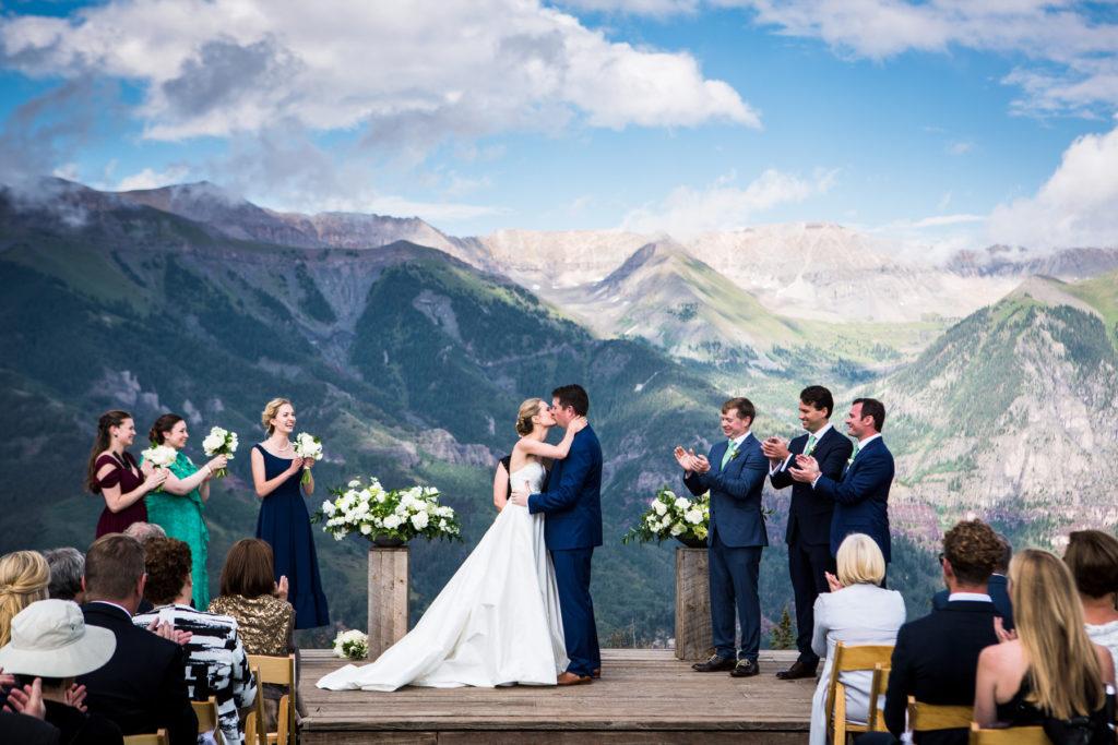 San Sophia Overlook wedding first kiss as husband and wife