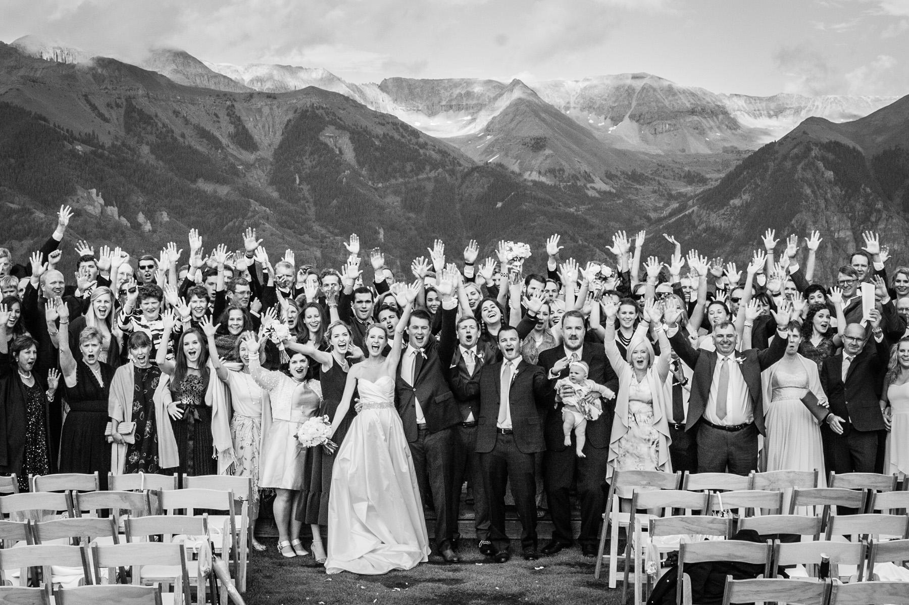 large group photo at San Sophia Overlook in Telluride Colorado