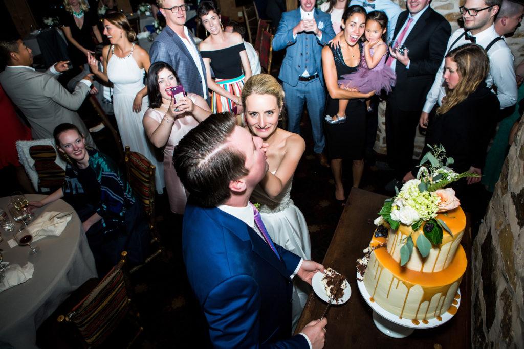 Allred's Wedding Reception cake cutting