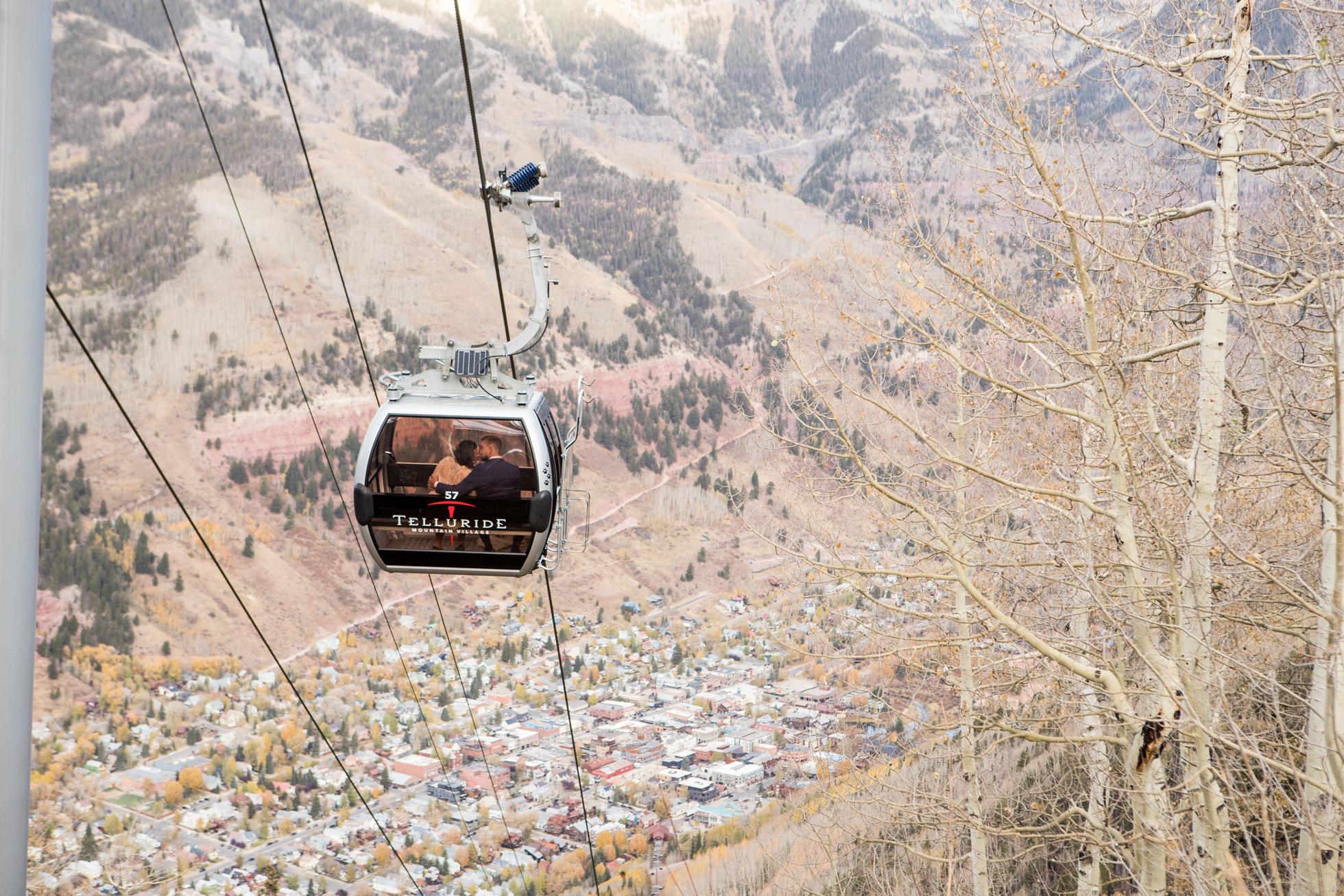 Telluride elopement gondola shot