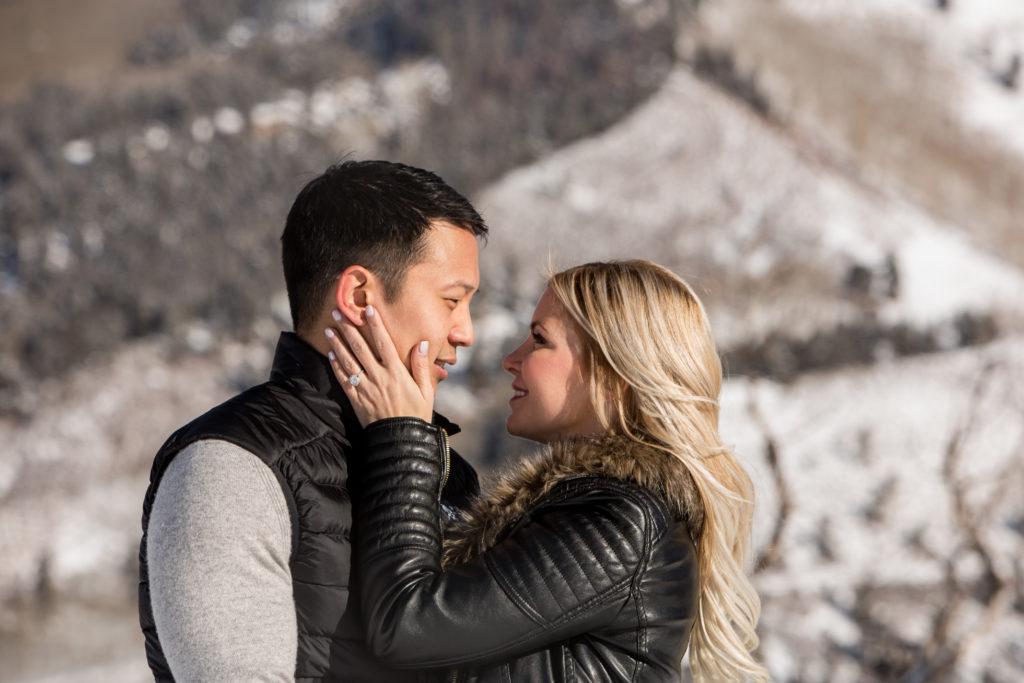 snowy Telluride engagement photos in Mountain Village