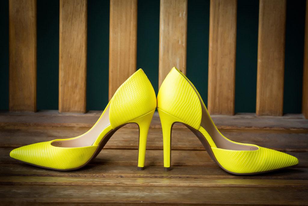 Bride's yellow heels