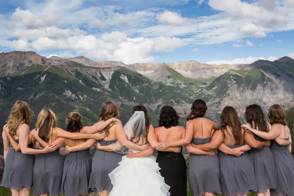Telluride, Colorado lesbian bridal party at San Sophia Overlook