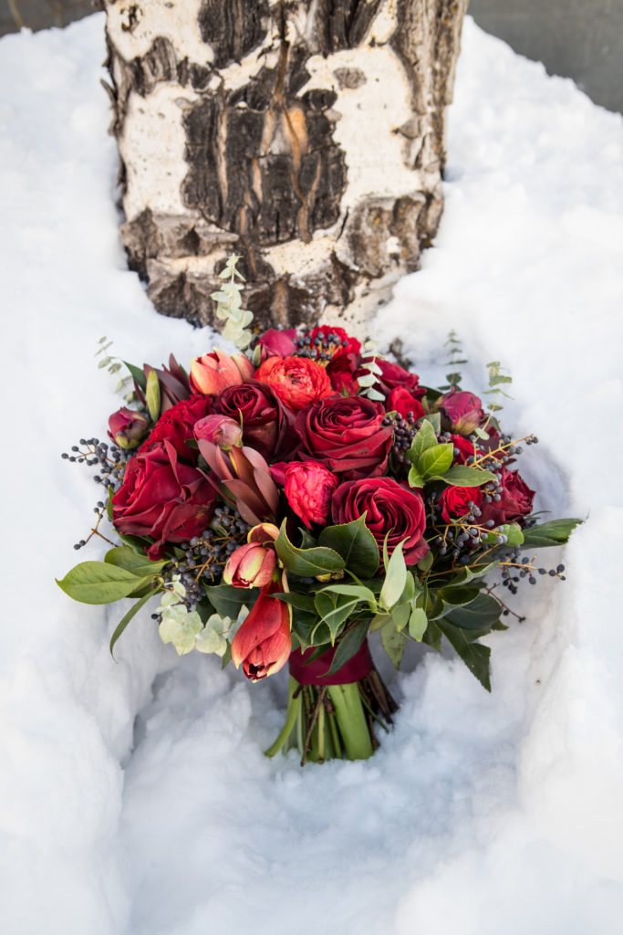 Dahlia Floral Design bouquet for a winter wedding
