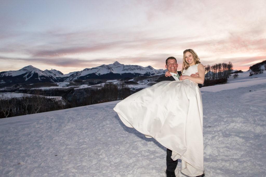 winter sunset wedding photo