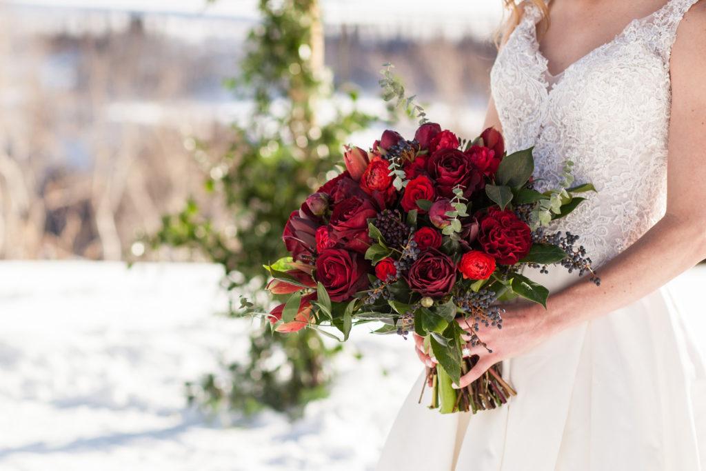 Stunning winter bridal bouquet by Dahlia Floral Design