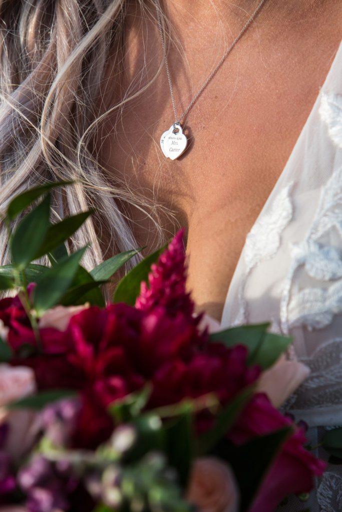 Mrs. Carter necklace on bride